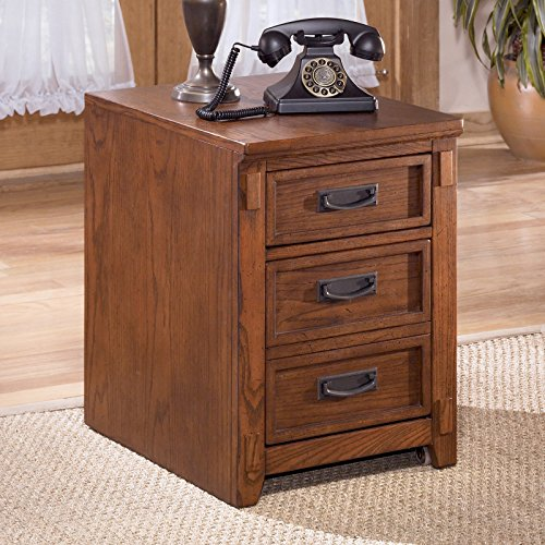 Rustic Design File Cabinet, Oak Veneer and Hardwood Solid Medium Brown Oak Stained Finish Three File Drawers with Metal Pull Hardware Rustic Design with Mission Detailing by GAShop
