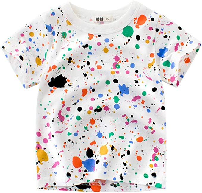 ALLAIBB Niño niños Camiseta de Graffiti Camiseta con Manchas de ...