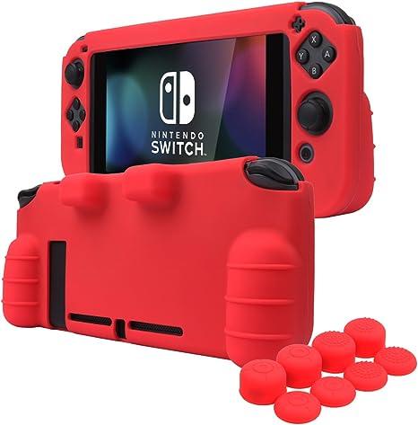 YoRHa EMPUÑADURA silicona caso piel Fundas protectores cubierta para Nintendo Switch x 1 (rojo) Con Joy-Con los puños pulgar thumb gripsx 8: Amazon.es: Videojuegos