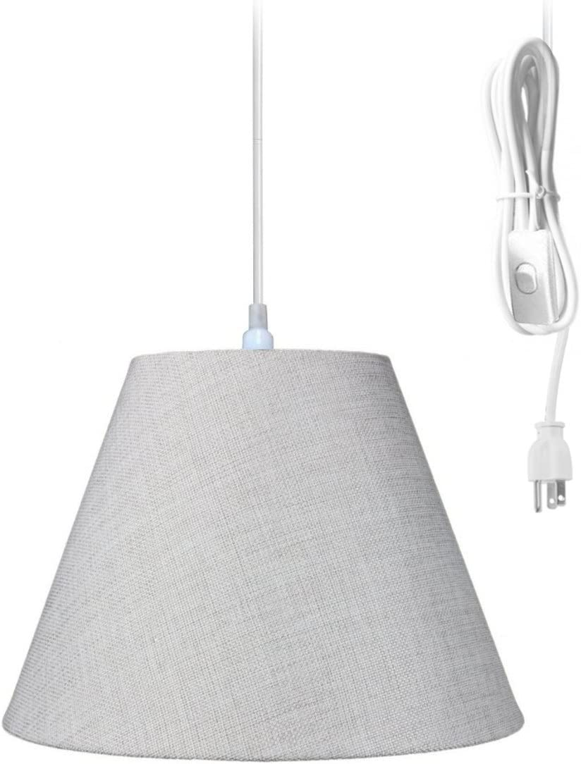 Plug-in Pendant Light by Home Concept – Hanging Swag Lamp Khaki Burlap Shade – Perfect for Apartments, dorms, no Wiring Needed Khaki, White One-Light