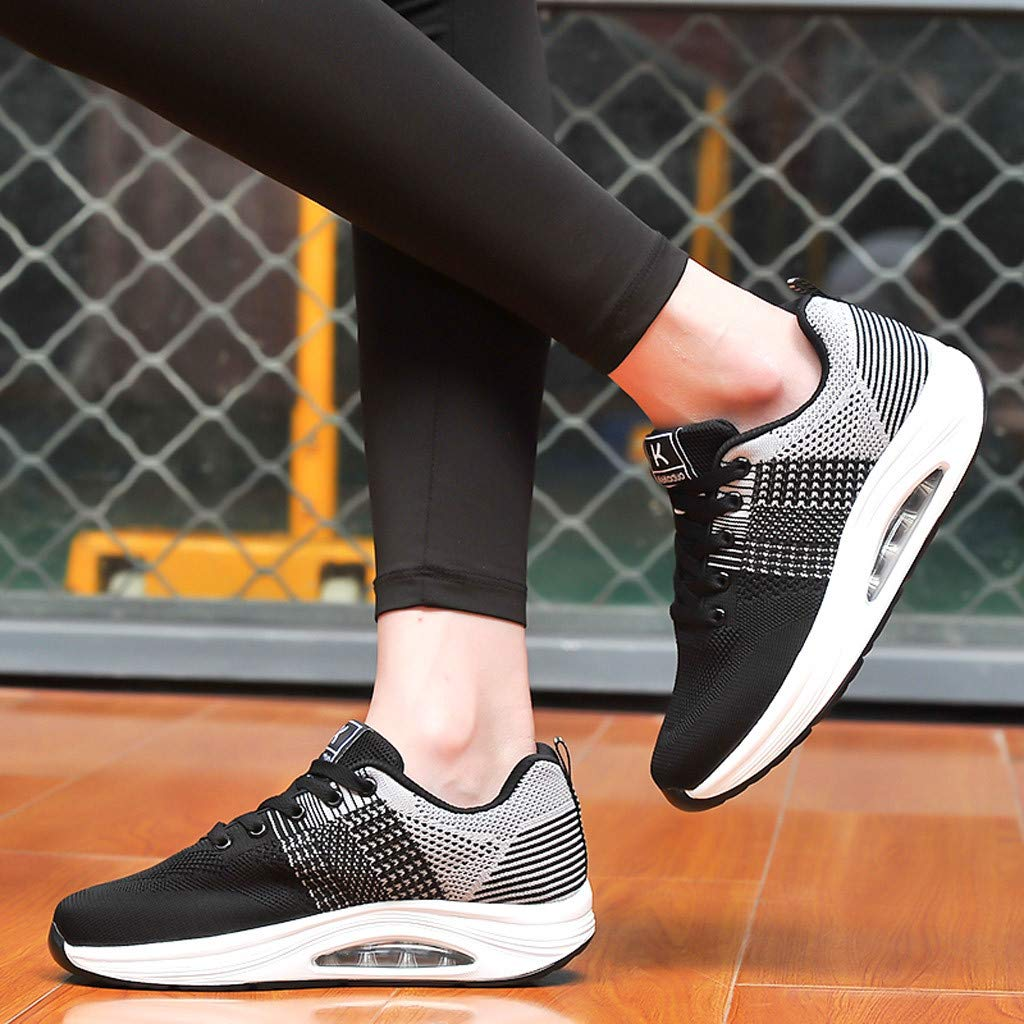 Claystyle Womens Mesh & Leather Lace Up Platform Wedges Walking Sneakers Sports Shoes(Gray,US: 7) by Claystyle Shoes (Image #5)
