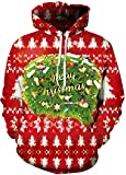 ABCHIC Women's Christmas Hoodies Shirt with Big Kangaroo Pockets One Size Fit for Over 14 Years Old Girls