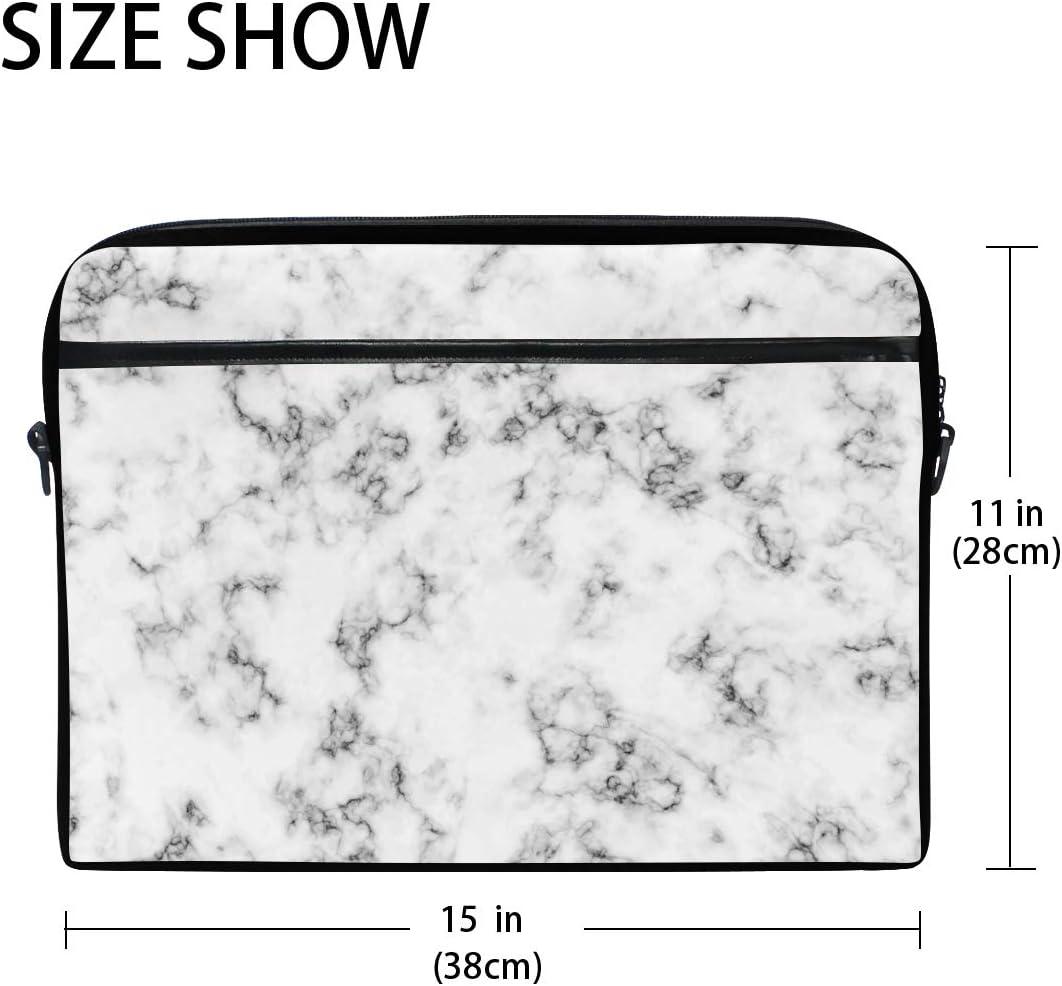 Linomo Computer Bag Black White Marble Laptop Sleeve Case Briefcase Messenger Sleeve Laptop Shoulder Bag fits 13 Inch 14 Inch 14.5 Inch Laptop for Women Men Office Kids School