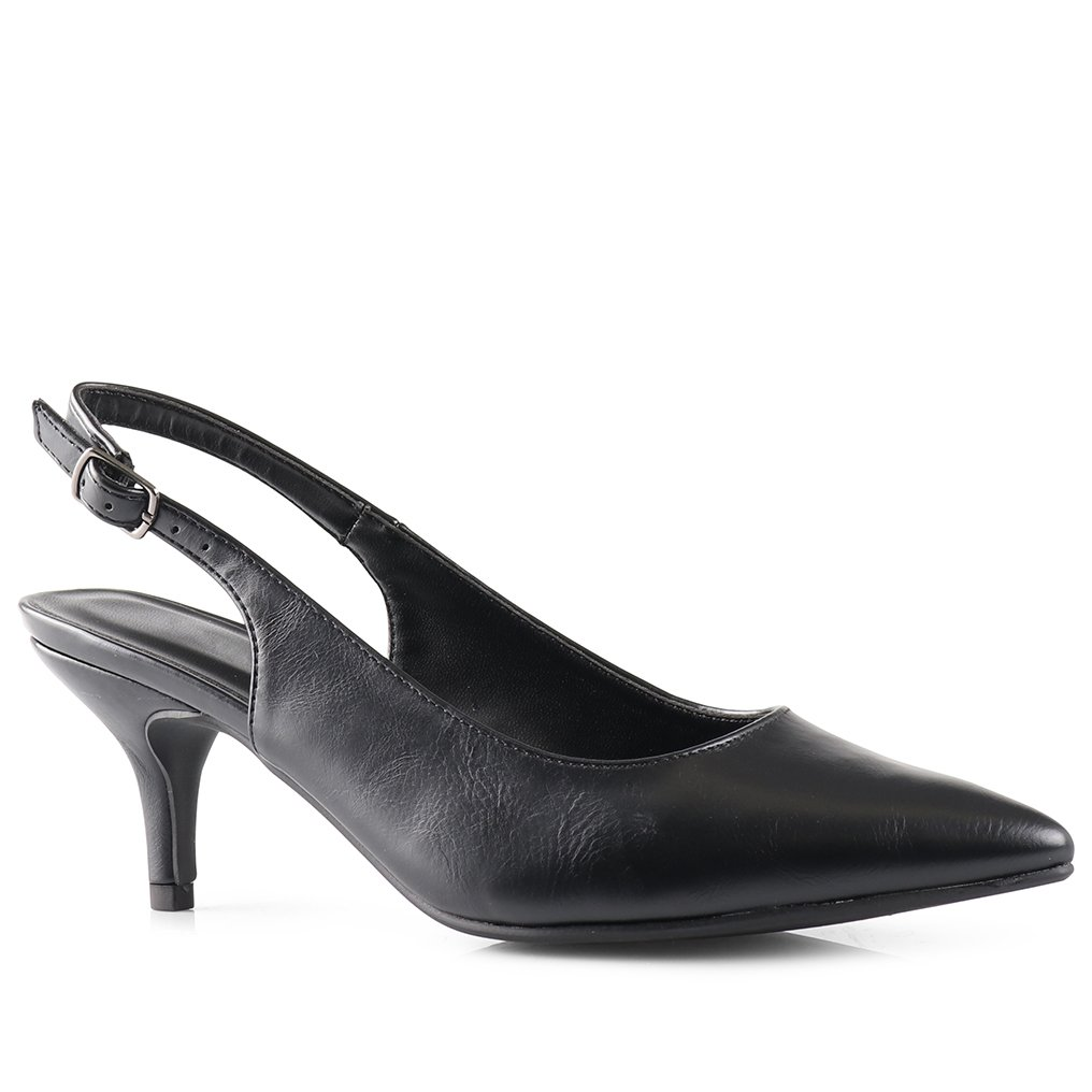 LUSTHAVE Women's Betty Kitten Heel Sling Back Closed Pointy Almond Medium Heel Pumps Shoes Black PU 8