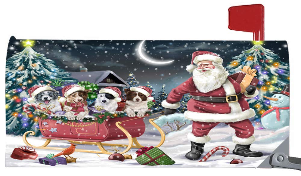 Doggie of the Day Magnetic Mailbox Cover Santa Sled Christmas Happy Holidays Border Collies Dog MBC48114