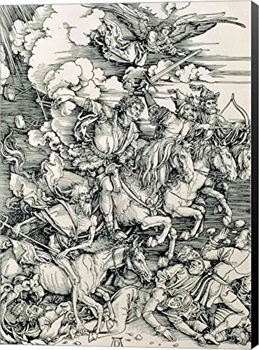 The Four Horsemen of The Apocalypse, Death, Famine, Pestilence and War by Albrecht Durer Canvas Art Wall Picture, Museum Wrapped with Black Sides, 19 x 26 inches