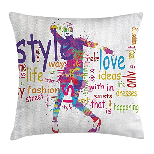 Woman Colorful Purple Dresses Decorative Square Throw 18 Case with Inches Cushion Happiness House Cover Stylish 18 X Fashion Pillow Stains Decor Theme Love Accent Pillow Figure Pink 4EvcW0q