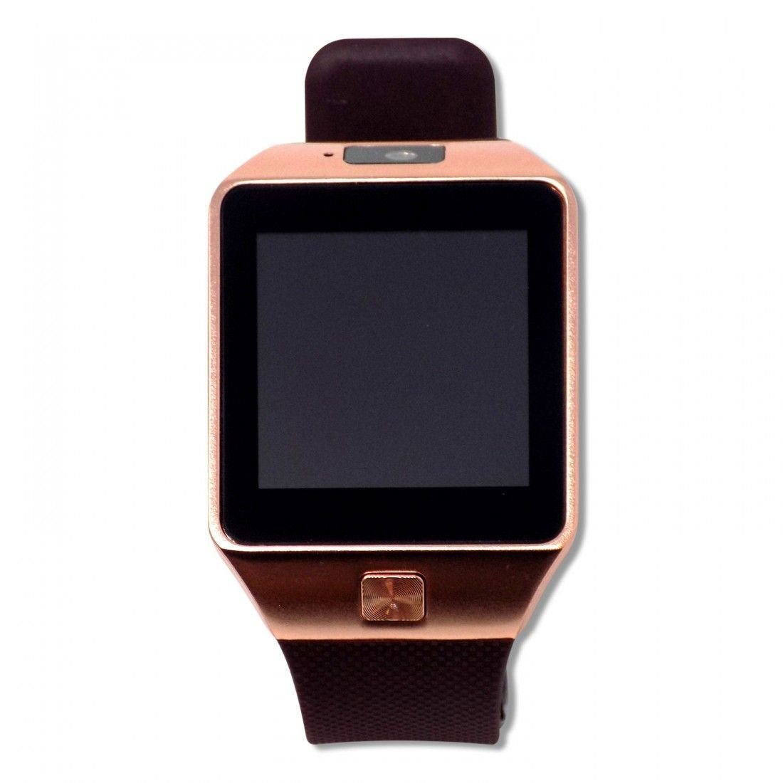 Veme Bluetooth Smart Watch with Touch Screen, Camera, Sim Card Support for IOS, Andriod Mobiles and iPhones (Burgundy Strap/Rose Gold Frame)
