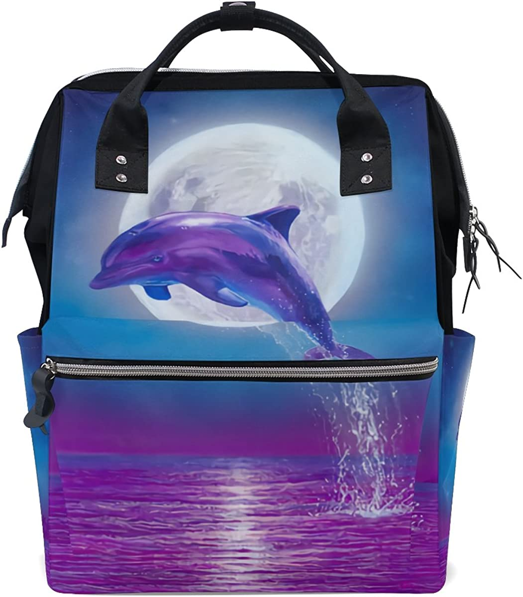 imobaby Dolphin Jumping Under Moonlight Changing Bags Large Capacity Handbags Canvas Shoulder Bag Backpack
