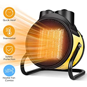 Space Heater - Electric Heater Fan Combo for All Year Round, Fast Heating, Thermostat, Adjustable Temperature, Overheat Protection, 90°Adjustable Angle, Portable Heater For Living Room, Office, Garage