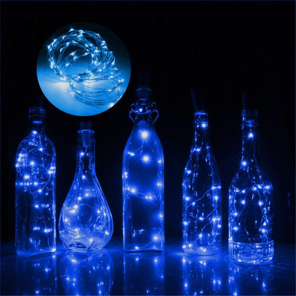 Iskylie 3M Christmas 30LED Bottle Romantic Lights Battery Powered Wine Bottle String Lights Ornament for Party (3M, Blue)
