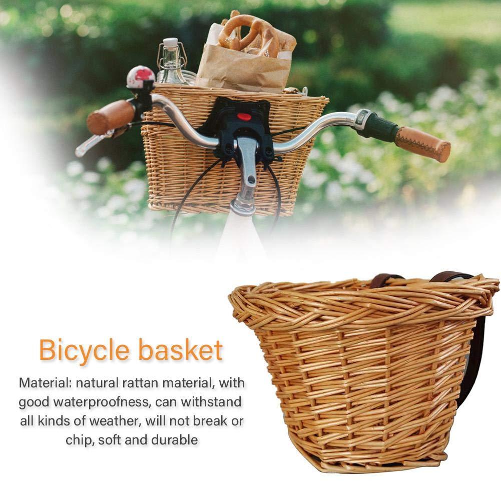 lennonsi Fahrradkorb Vorne Geflochtener Fahrradkorb Fahrrad-Gep/äcktr/ägerkorb Weidenkorb mit Braunen Lederriemen Sch/ön und haltbar Handgewebt