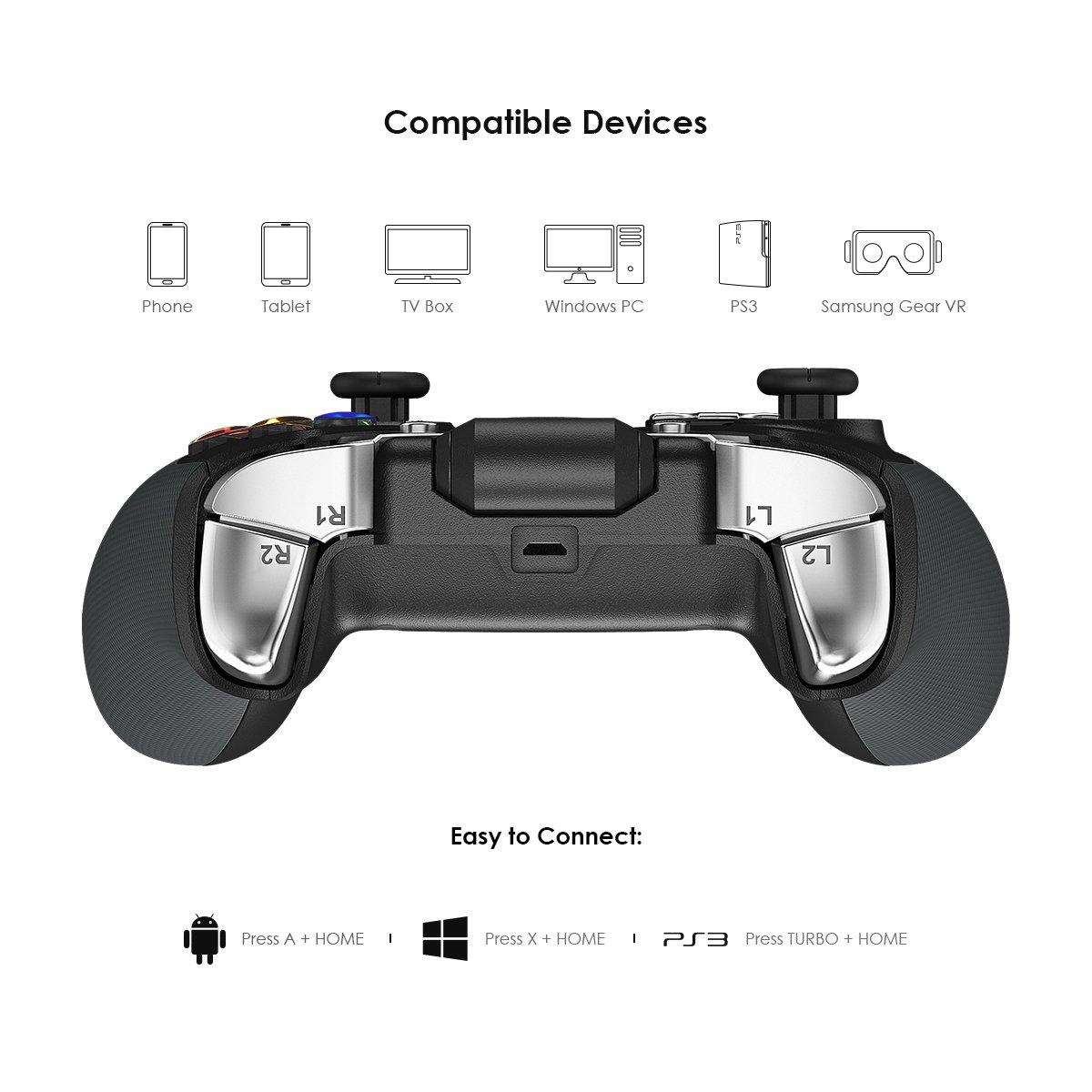 GameSir G4 Controlador Bluetooth Inalámbrico, Joystick Gamepad para Android Teléfono/TV Box/Samsung Gear VR / Windows7,8,8.1,10/ Oculus: Amazon.es: ...