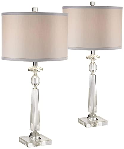 Aline Modern Table Lamps Set of 2 Crystal Column Gray Drum Shade for Living Room Family Bedroom Bedside Nightstand – Vienna Full Spectrum