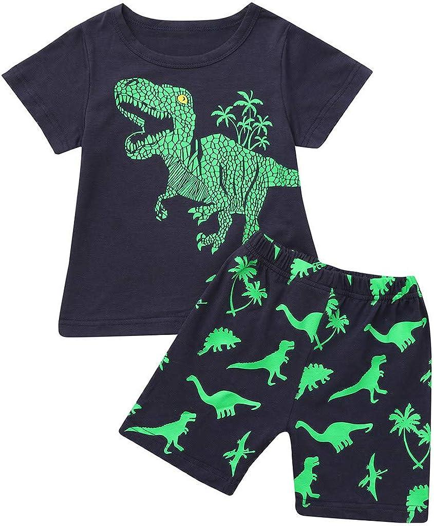 Oldeagle Baby Boys Girls Long Sleeve Cartoon Dinosaur Print Tops+Pants 2PCs Pajamas Clothing Set