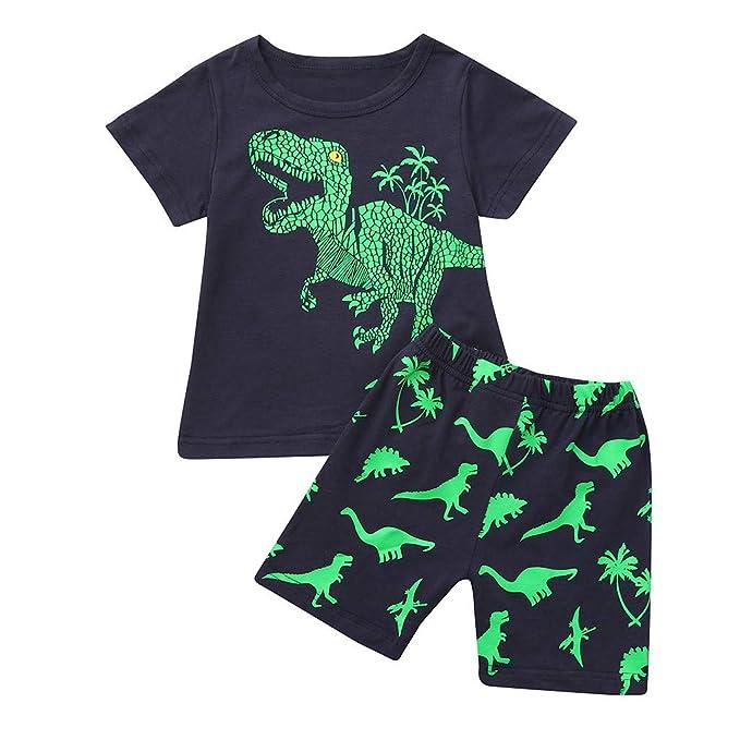 05404c383 Sayla Ropa Bebe NiñA NiñO Verano Camisetas Conjuntos Moda NiñO PequeñO NiñOs  Dinosaurio Pijama De Verano Pijamas De Vestir Tops Pantalones Trajes  Setcesa ...