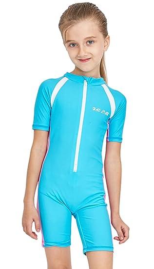 b5d270187f HaoLian Girls Boys UV UPF 50+ Quick Dry Wetsuit One Piece Swimming Costume  Cute Surfing
