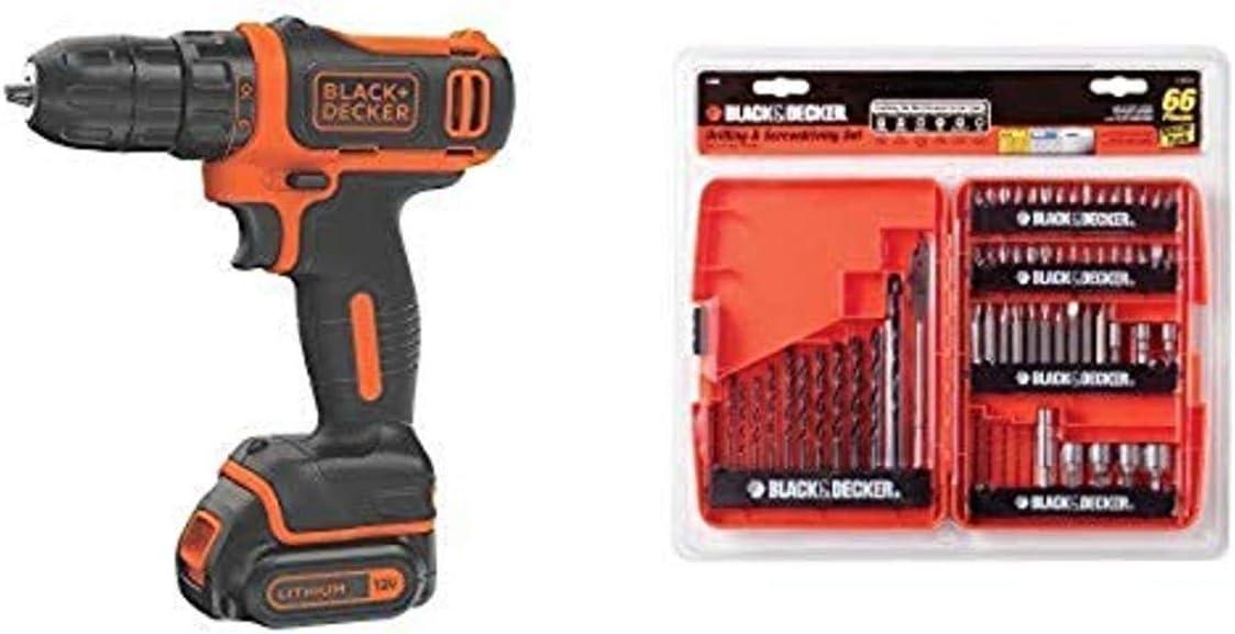 BLACK+DECKER 12V MAX Cordless Drill/Driver (BDCDD12C) with BLACK+DECKER 71-966 Drilling and Screwdriving Set, 66-Piece Bit Set