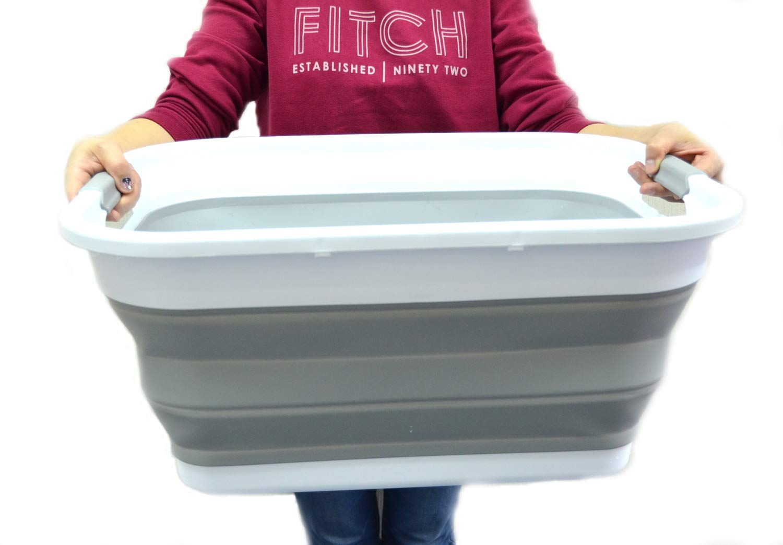Amazon.com: SAMMART Collapsible Plastic Laundry Basket - Foldable ...