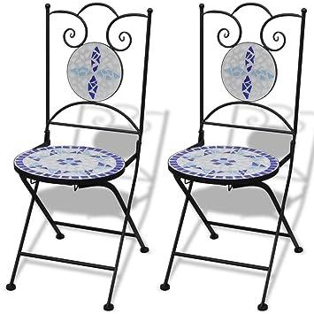 vidaXL Set 2 sillas Mosaico Asiento de cerámica jardín terraza balcón azúl y Blanco