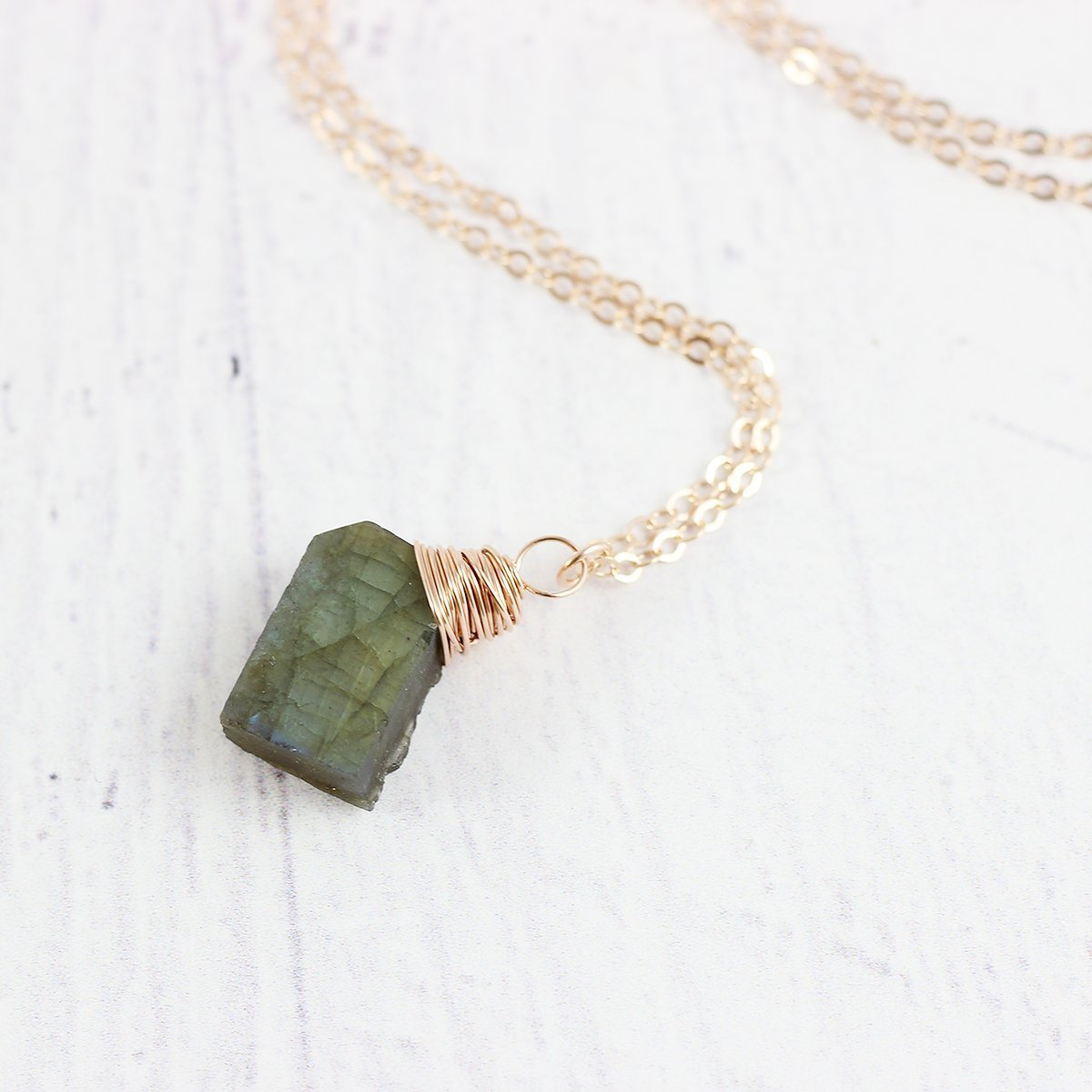 Raw Labradorite Rose Gold Filled Stone Necklace - 18 Length