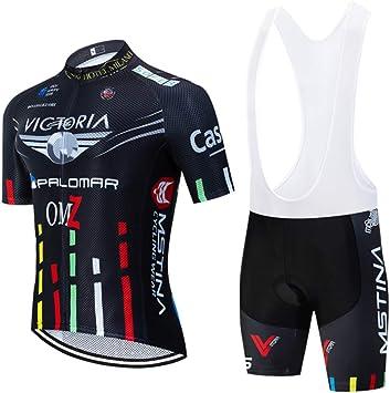 Ropa Ciclismo Traje de Ciclista de los Hombres Traje de Bicicleta de Ciclismo de Manga Corta Ciclismo Maillot + Pantalones Cortos de Ciclismo Secado rápido: Amazon.es: Deportes y aire libre