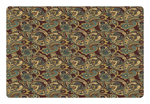 Ambesonne Paisley Pet Mat for Food and Water, Iranian Hippie Themed Spiritual Textured Floral Ornament Persian Artwork, Rectangle Non-Slip Rubber Mat for Dogs and Cats, Chocolate Sand Brown Spiritual Chocolate