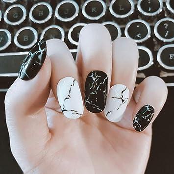 Amazon.com: Asooll - 24 uñas postizas de mármol negro con ...