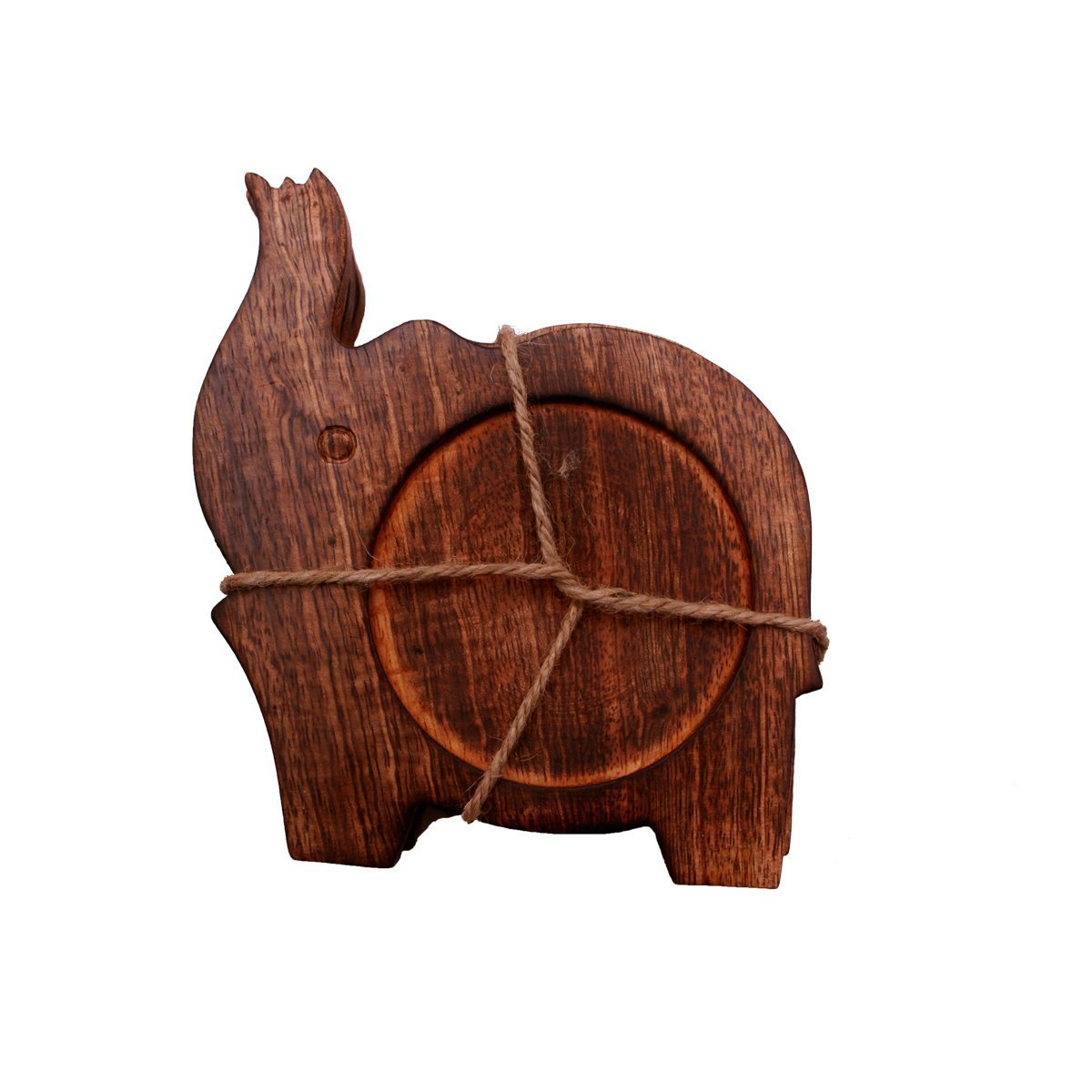 Handmade Wooden Elephant Coaster Holder For Drinks Beer Wine Glass Tea Coffee Cup Mug by Kamla Sellers