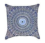 Blue Arabic Mosaic Mandalla Throw Pillow