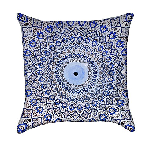Blue Arabic Mosaic Mandalla Throw Pillow by Chickadee Décor