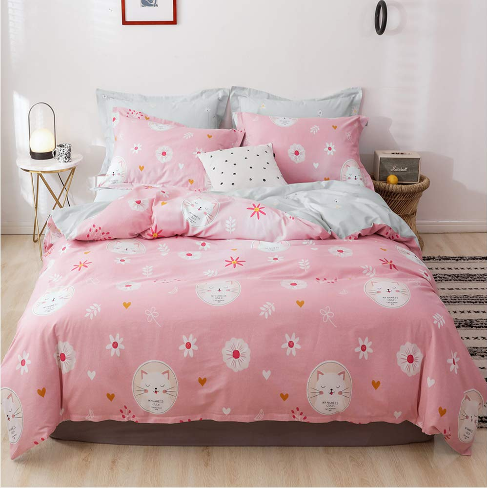 Soft Cotton Pink Cat Print Duvet Cover Set Twin Gray Kids Boys Cartoon Bedding Sets 3 Pieces Reversible Cotton Comforter Cover Twin with Zipper Closure for Children Teen Animal Bedding Collection