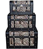 International Caravan LFJ-1308-TG-IC Furniture Piece Set of 3 Animal Print Trunks