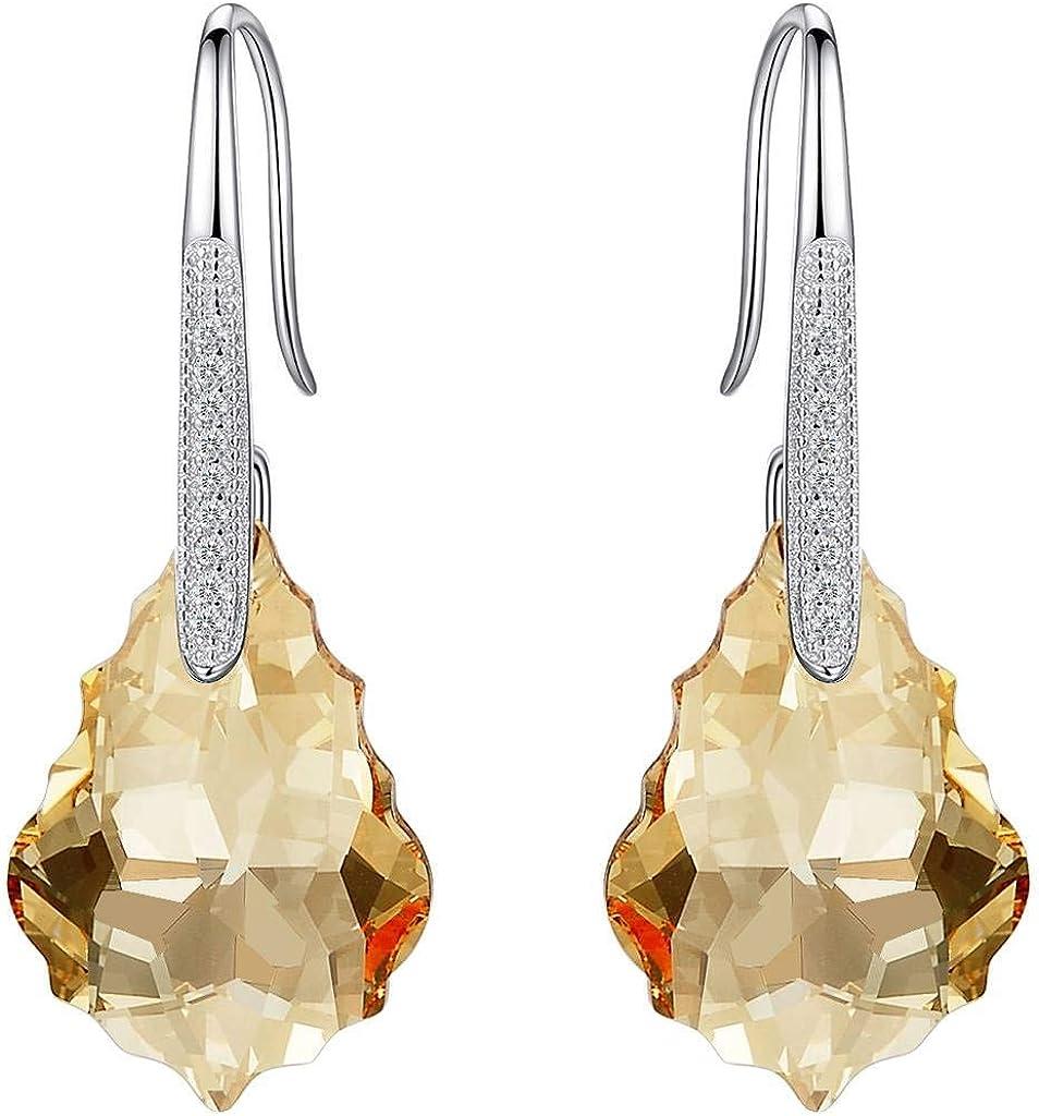Clearine Mujer 925 de Plata Boda Nupcial Cúbica Zirconia llama Inspirado Pendients Adornado Con Cristales