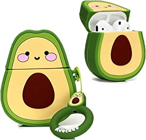 ARSUE AirPods Case Cover,Cute Silicone 3D Cartoon Funny Kawaii AirPods Protective Case Keychain Compatible with Apple AirPods 2 & 1 Charging Cases for Girls Kids Teens Boys,Avocado