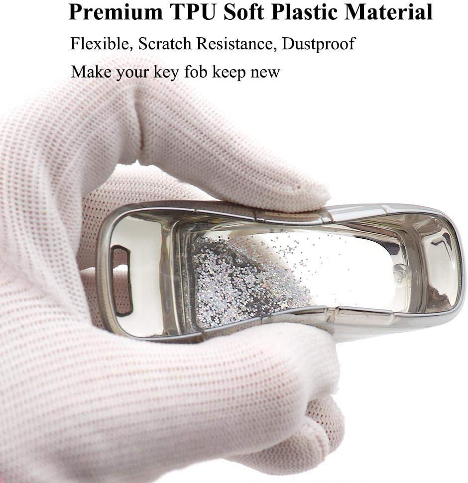 Silver Senauto Quicksand Key Fob Cover Case Keychain for Audi A6 A7 A6L A8L Q8 2018 2019 2020