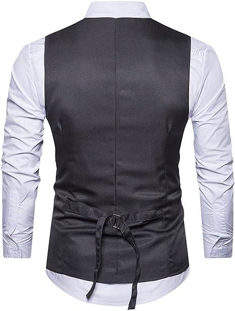 Homme Gilet Costume Veste Slim Fit sans Manches Business