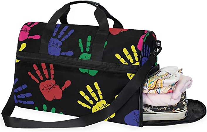 FAJRO Gym Bag Travel Duffel Express Weekender Bag Colorful Handprints Carry On Luggage with Shoe Pouch