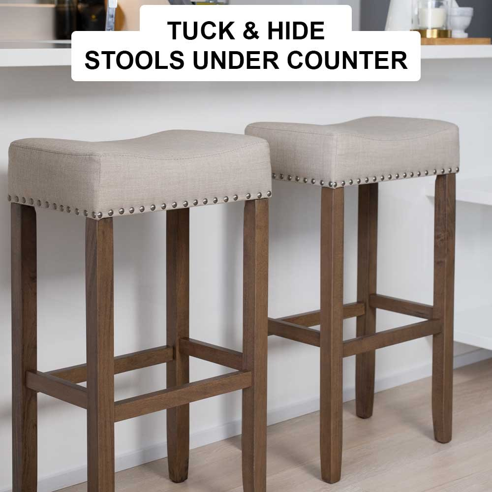 Nathan James 21403 Hylie Nailhead Wood Pub-Height Kitchen Counter Bar Stool  29\
