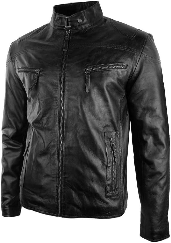 Aviatrix Chaqueta de Cuero Negro con Cremallera para Caballero Estilo Biker Vintage