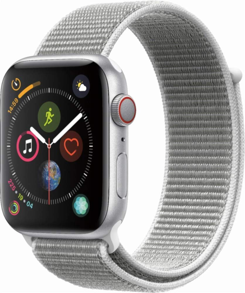 Apple Watch Series 4 (GPS+Cellular) Aluminum Case Unlocked Compatible with iPhone 5s and Above (Silver Aluminum Case with Seashell Sport Loop, 44mm)