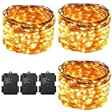 ErChen Led String Lights Battery Powered,ER CHEN(TM) Waterproof 300 LED String Lights on 100 Ft Long Ultra Thin Copper String Wire with Timer (Warm White,3 Pack)