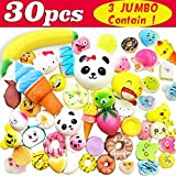 Symfury 30 Pack Fidget Toy Slow Rising 3 Jumbo 9 Medium 18 Mini for Kids Boys Girls Toddler Teen Cream Scented Animals Fruit Food Stress Ball For Phone Straps Back To School Student Prize Outdoor