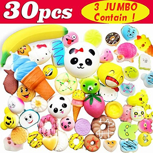 Symfury 30 Pack Fidget Toy Slow Rising 3 Jumbo 9 Medium 18 Mini for Kids Boys Girls Toddler Teen Cream Scented Animals Fruit Food Stress Ball For Phone Straps Back To School Student Prize Outdoor by Symfury