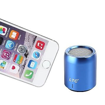 LTC Altavoz Inalámbrico Portátil Mini Super Bass para iPhone Reproductor de Música Samsung, Bajo Mejorado, Aluminio Recubierto de Polvo Metálico: Amazon.es: ...