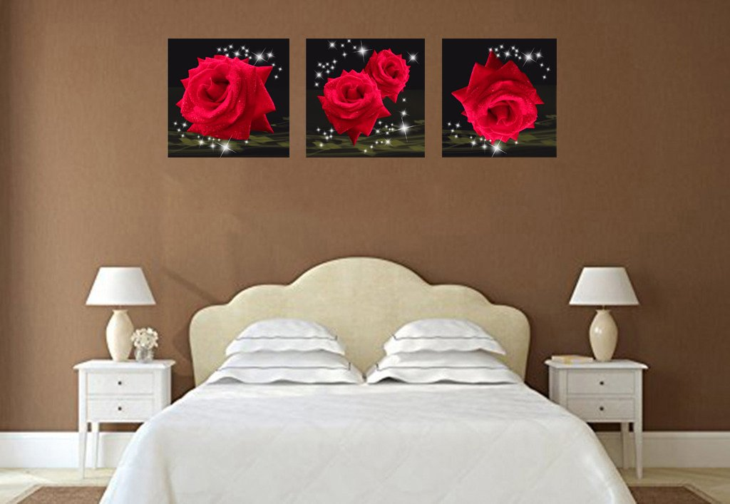 Mon Art Love Of Red Roses Modern Decorative Wall Canvas Set Of 3(UnStretched and UnFramed) by Mon Art (Image #6)