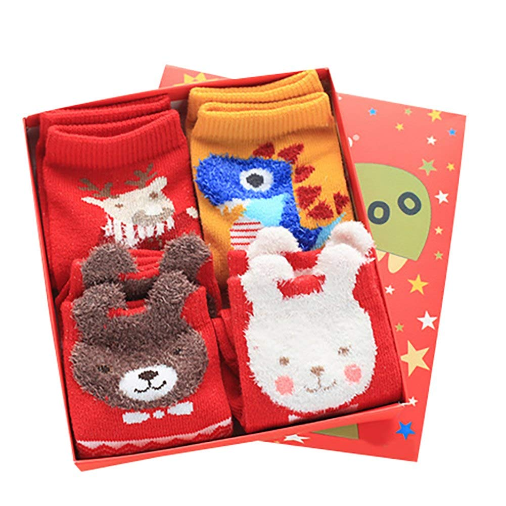Kids Boys Girls Thicken Anti-slip Premium Socks Knit New Year Christmas Gift Slipper Winter 4pack