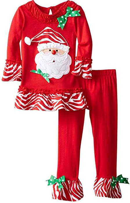 bf87f497c Kids Baby Girls Christmas Santa Claus Striped T-shirt Tops Flares Pants  Outfits size 1