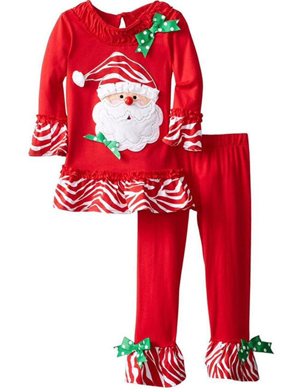 SUPEYA Toddler Baby Girls Christmas Outfits Santa Claus Print Tops Pants 2Pcs Set