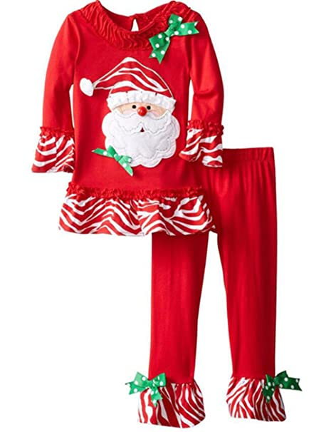 Kids Baby Girls Christmas Santa Claus Striped T-shirt Tops Flares Pants  Outfits size 90 bbb7571c7